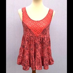Free People Boho Lace Tank Top Blouse Small S